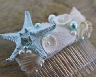 Sea Blue and White Seashell Beach Bridal Comb