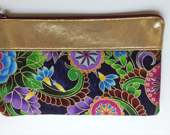 Multicolor Clutch, Gold  Clutch, Wristlet; Handbag, Fashion Accessory,  Clutch