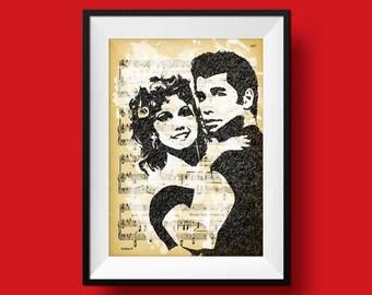 Movie Print, grease movie print, movie art  printable, instant download