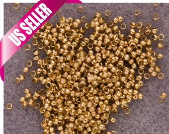 Round Crimp Beads Gold Finished 2mm With 1mm Hole, crimper tube place holder sold per 1000pcs