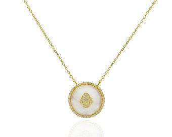 Gold Hamsa Hand Necklace, Hamsa Necklace, Hamsa Jewelry