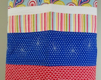 Modern Baby quit, Riley Blake Summer Celebration, ready to ship,paisley, blue, red, yellow, nursery decor