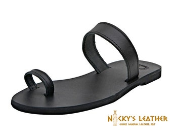 LEATHER SANDALS 100% Full Grain Leather in Black / White / Natural color