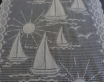 Long nautical French door or window net curtains.
