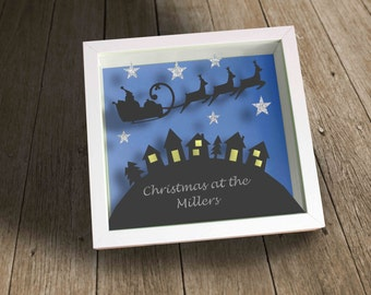 Personalised Christmas at the.......papercut shadow frame