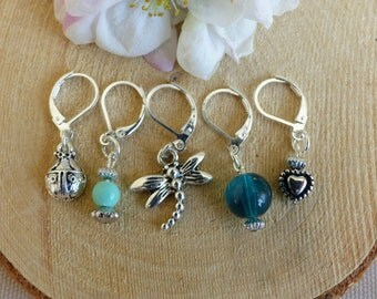 Teal stitch markers