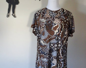 Vintage 1960's Brown Abstract Dress / 60s XXL  ss