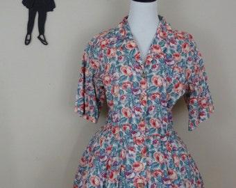 Vintage 1980's Does 1950's Floral Dress / 80s Shirtwaist Dress M