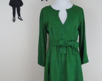 Vintage 1960's Style Dress / 60s Inspired Green Dress S/M  tr