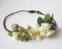 Bridal Floral Crown, Bohemian Hair Piece, Woodland Wedding, Bridal Headband, One of a kind