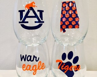Auburn inspired wine glasses