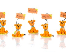 Set of 5 tiger to Capucakes handmade cake topper  polymer (cold porcelain) With or Without name