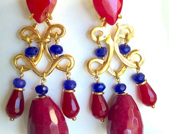 Red Jade, Blue Jade and Ruby Gold Earring