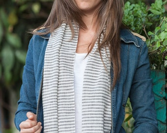 Organic Raw Cotton Grey Stripe Shawl