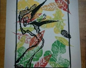Dinosaur bird. Linocut illustration print.