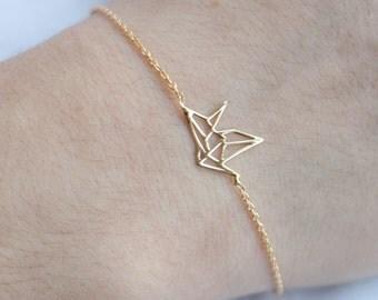 Armkette mit Origami-Vogel aus Silber oder Vergoldet