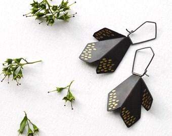 Statement Hook Earrings, Black Hook Earrings, Black Drop Earrings , Black & Gold Hoop Earrings, Silver Drop Earrings, Flower Earrings