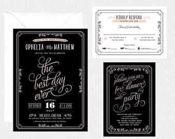 Hochzeitseinladungset - OLD HOLLYWOOD