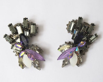 Black diamond ear cuff style Swarovski crystal cluster earrings