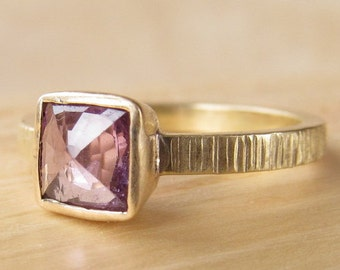 Pinkish Purple Cushion Cut Sapphire