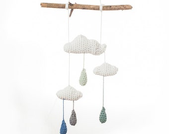 crochet handmade Cloud Mobile, raindrops, cotton, blue, baby mobile, drift wood,  designer Babytoy, birth present, newborn toy, baby shower