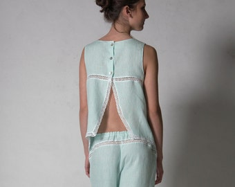 Linen Cropped Pajama Top with Handkerchief Side Corners