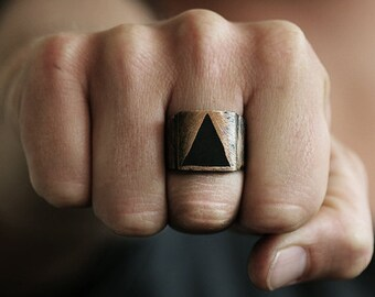 Bronze Rustic Triangle Ring Carpe Diem Personalized Unique Man Jewelry