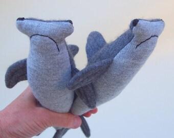 toy shark, waldorf toy, stuffed toy, hammerhead shark, child's toy, sea creature, toy fish