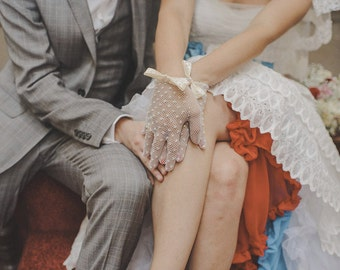 Ivory Bridal Crochet/Filet/Fishnet Gloves with Ivory Satin Bows and Pearls as Featured on Rock n Roll Bride