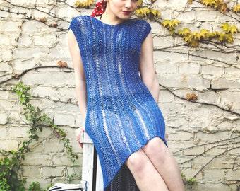 womens summer tunic dress - boho dress - royal blue dress - tunic dress - beach dress - bohemian dress - lace dress - blue summer dress