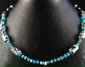 Nevada Obsidian and apatite necklace