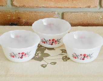 Fire King made in USA set of 3 Primrose custard cups 1970s