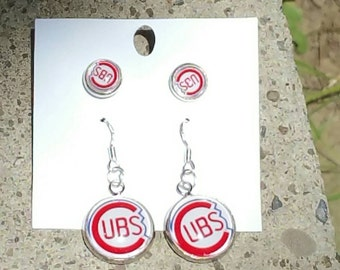 Chicago cubs earrings set (your choice of image )