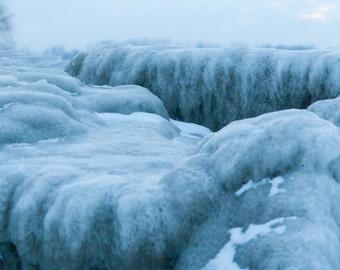 Treacherous Slopes. 8x10 Color Winter Ice Photo Wall Art. Nature.