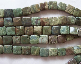 "African Snakeskin Jasper Stone Small Puffed Square Beads ~ 7.5"" Strand ~ 12mm ~ 16 Pieces"