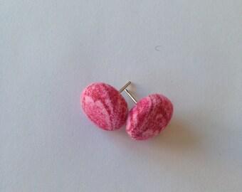 pink earrings, button earrings, stud earrings, fabric button, pattern earrings
