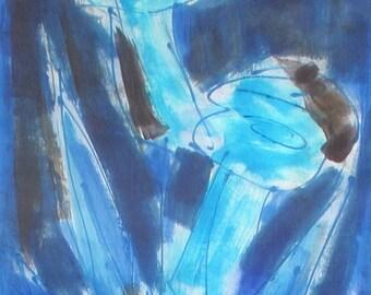 Hand Painted silk scarf Olympian Blue Scarf Handpainted Silk Shawl Scarf Floral/ Abstract silk painting/ Holidays Gift Woman Aqua Blue scarf