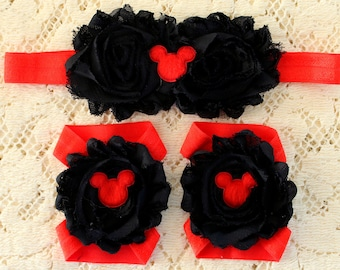 Barefoot Sandals and Headband Set, Red and Black Sandals and Headband, Mickey Mouse Sandals, Disney sandals, disney Sandals and Headband Set