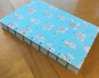 Light Blue and Silver Elephant Journal // Coptic Stitch // Hardcover // Blank Book // Handmade // 120 Pages // Pretty Sketchbook