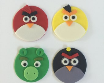 12 Angry Birds Inspired Cupcake Toppers-Fondant