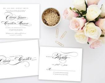 Elegant Wedding Invitation Suite | Printable