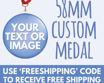 58mm Custom Medal - Sports Medals - Hen & Stag - Charity Band Wedding Work Fun Run - 2.2 Inch - Any Design Photo Text - Free Design Service