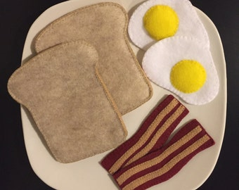 Pretend Felt Food Eggs, Bacon and Toast Breakfast