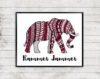 Elephant Art, Alabama Elephant Art, Rammer Jammer Art, Alabama Team Print