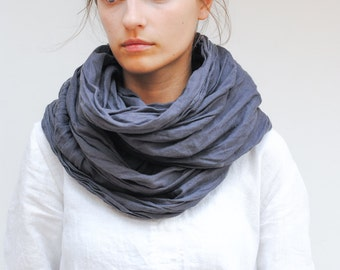 Linen scarf, pure linen scarf, long linen scarf, gray linen scarf, softened linen scarf, natural creased linen scarf, FREE SHIPPING