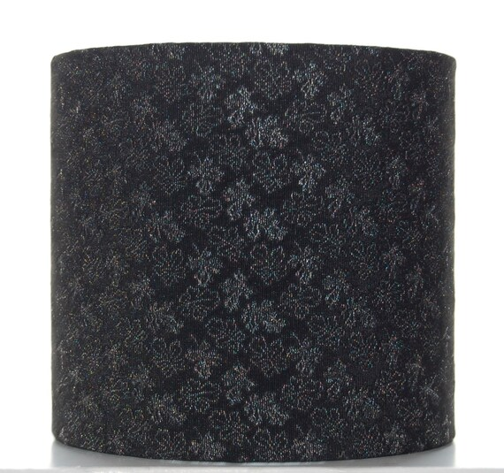Black & Silver Silk Lampshade, 20cm (8 inch) Drum Lampshade Covered with Vintage Kimono Silk