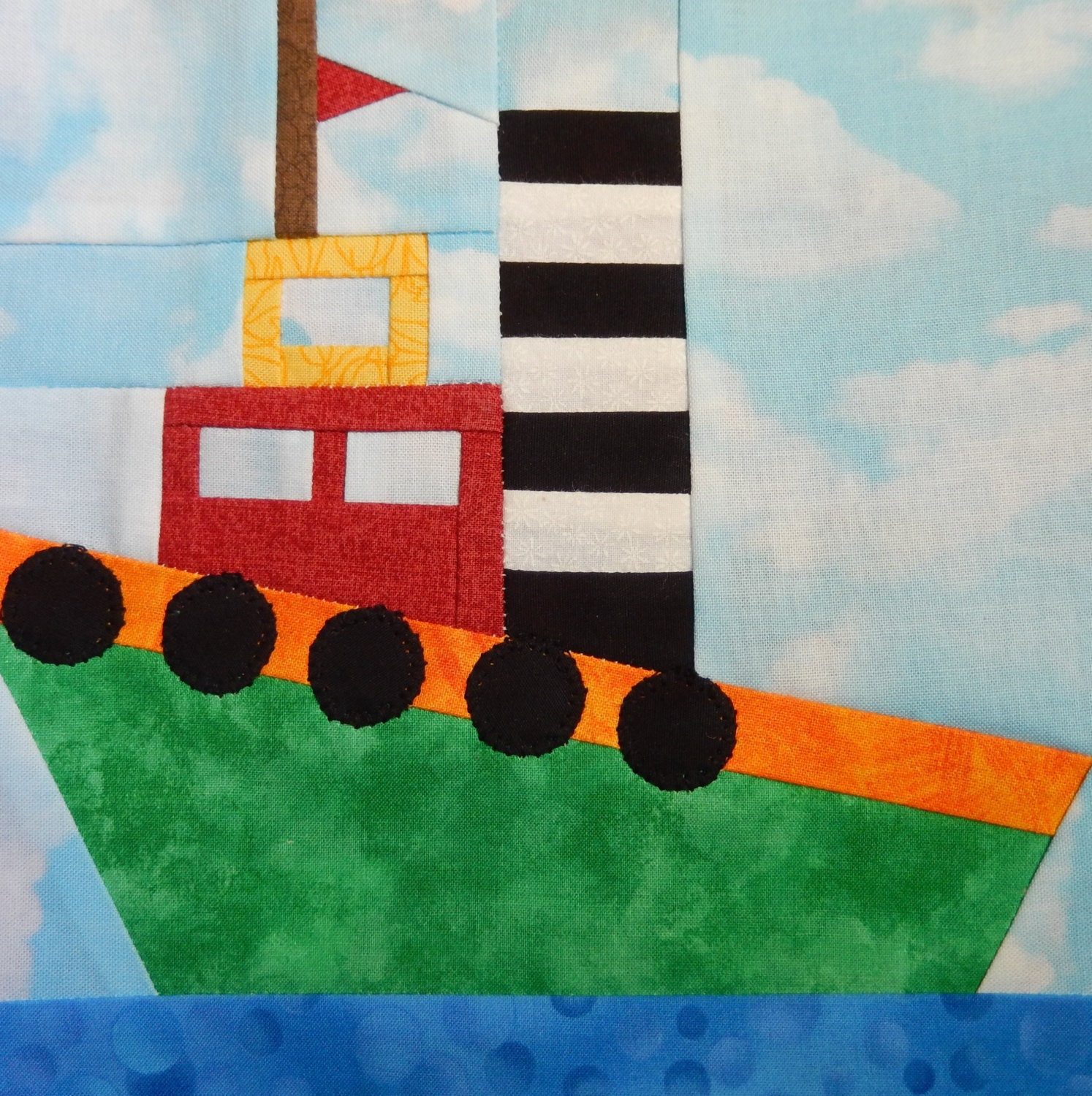 Tugboat Paper Pieced Pdf Quilt Block Pattern Nautical Quilt