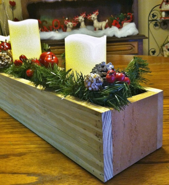 Pallet wood centerpiece planter box by lowerarkcrafts