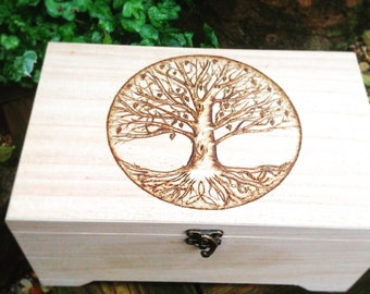 Tree of life large keepsake box, pagan gift, wooden box, memory box, trinket box, reiki gift, spiritual gift, memorial box,personalised