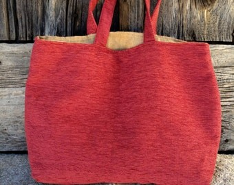 "Handmade rustic velvet Tote Bag "" Rose"""